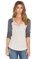 Splendid Chalet Mix Media Button Front Tee Gray