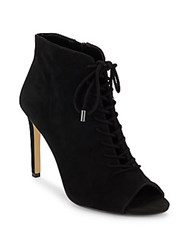 Saks Fifth Avenue Lace Up Leather Booties Black