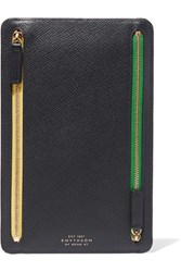 Smythson Panama Textured Leather Wallet Navy