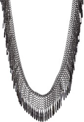 Saint Laurent Feather Fringe Long Necklace Colorless