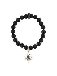 King Baby Studio Fleur De Lys Beaded Bracelet Black