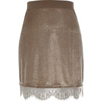 River Island Womens Sparkly Cream Lace Trim Mini Skirt