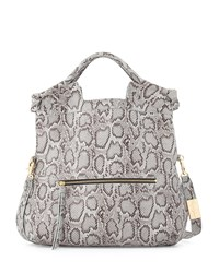 Foley Corinna Mid City Snake Embossed Leather Tote Bag Misty Viper
