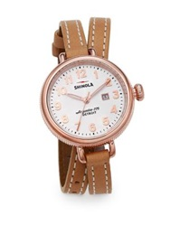 Shinola Birdy Rose Goldtone Pvd Stainless Steel And Leather Double Wrap Watch Rose Gold Tan
