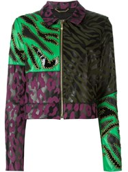 Versace Patchwork Leather Jacket Multicolour