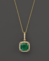 Bloomingdale's Emerald And Diamond Pendant Necklace In 14K Yellow Gold 18 Gold Green