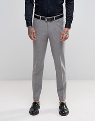 Asos Skinny Suit Trousers With Piping Detail In Light Grey Grey