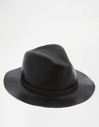Asos Fedora Hat In Black Faux Leather Black