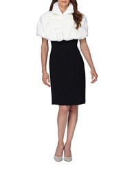 Tahari By Arthur S. Levine Fold Collar Faux Fur Capelet Winter White