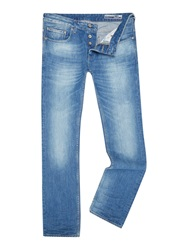 Duck And Cover Light Wash Mid Rise Jeans Light Blue