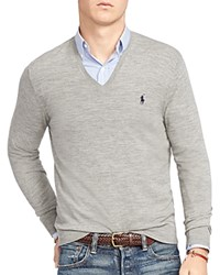 Polo Ralph Lauren Stretch Merino Slim Fit V Neck Sweater Fawn Grey