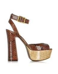 L'autre Chose Brown Embossed Leather Platform Sandal