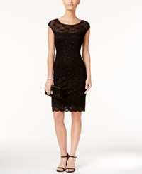 Connected Sequined Illusion Lace Sheath Dress Black