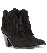 Saint Laurent New Western Fringed Suede Leather Ankle Boots Black