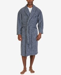 Nautica Men's Marled Fleece Shawl Collar Robe Mood Indigo