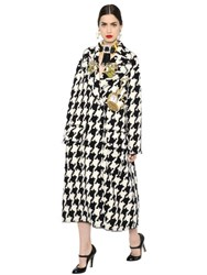 Dolce And Gabbana Embellished Macro Houndstooth Wool Coat