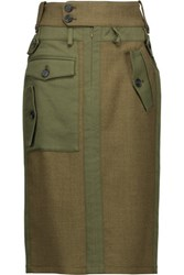 Tom Ford Gabardine Paneled Herringbone Wool Midi Skirt Army Green