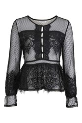 Glamorous Sheer Peplum Blouse By Black