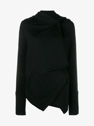 Ann Demeulemeester Grito Cotton Blend Asymmetric Hoodie Black