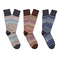 Paul Smith Three Pack Striped Stretch Cotton Blend Socks Blue