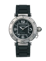 Cartier Pasha Seatimer Stainless Steel Watch And Rubber Automatic Bracelet Bracelet Black