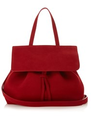 Mansur Gavriel Red Lined Mini Lady Top Handle Suede Bag