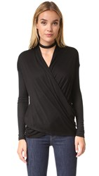 Alice Olivia Air Jazlynn Twisted Front Top Black