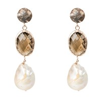 Latelita London Hydra Baroque Pearl And Smokey Quartz Hydro Earring Rosegold Rose Gold Pink Purple