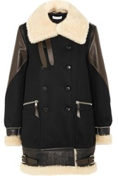 Altuzarra Ismir Shearling And Leather Trimmed Wool Blend Felt Coat Black