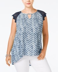 Eyeshadow Plus Size Printed Lace Sleeve Top