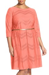 Plus Size Women's London Times Chevron Mesh Fit And Flare Dress Coral