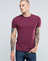 Asos Muscle T Shirt With Crew Neck In Red Conker