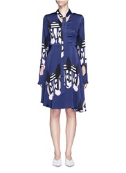 Helen Lee 'Bad Bunny' Print Flare Dress Blue