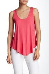 Hip Double Scoop Knit Tank Pink