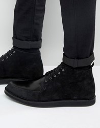 Asos Brothel Creeper Boots In Black Leather And Suede Mix Black