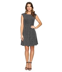 Rsvp Dahlia Sparkle Knit Fit And Flare Silver Women's Dress