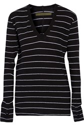 Enza Costa Striped Cotton And Cashmere Blend Top Black