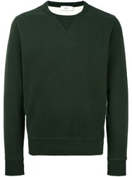 Closed Crew Neck Welt Sweatshirt Green