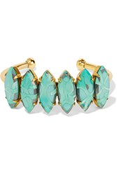 Elizabeth Cole Gold Tone Stone Cuff Light Green