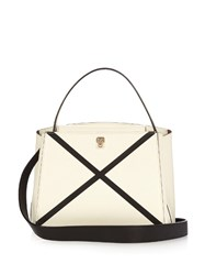 Valextra Triennale Mini Grained Leather Cross Body Bag White Black