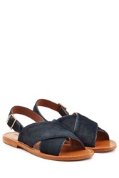Marni Crisscross Haircalf Sandals Black