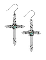 Lucky Brand Turquoise Calcite Cross Dangle Earrings Silver
