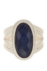 Anna Beck Sterling Silver Oval Sapphire Ring Metallic
