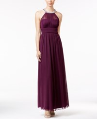 Speechless Juniors' Embellished Illusion Ruched Gown Brandy Wine