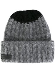 Dsquared2 Contrast Knit Beanie Grey