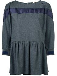 Hache Three Quarter Sleeve Peplum Top Grey