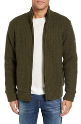 Schott Nyc Men's Zip Front Faux Sherpa Lined Sweater Jacket Moss Green