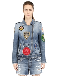 People Patches On Cotton Denim Moto Jacket Blue