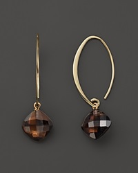 Bloomingdale's 14K Yellow Gold Simple Sweep Earrings With Smoky Quartz