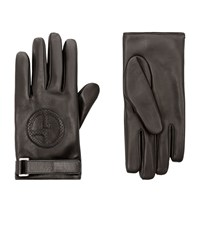 Giorgio Armani Logo Embossed Leather Gloves Unisex Black